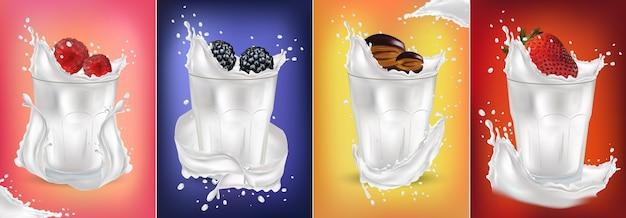 Splash de leche realista con fruta fresca. fresa, frambuesa, ciruela, mora. cóctel de frutas.