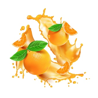 Splash de naranja realista y fruta.