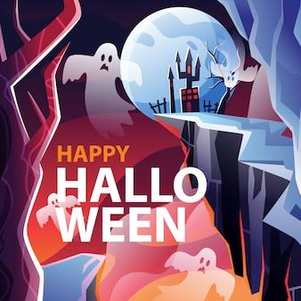 Spooky castle halloween para redes sociales
