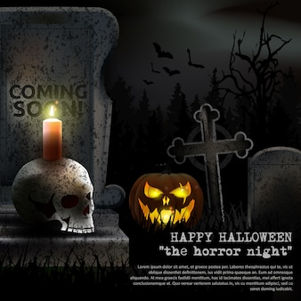 Spooky halloween graveyard vector