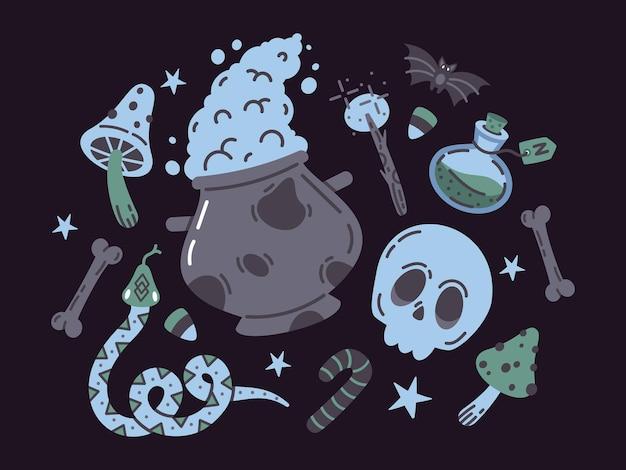 Spooky halloween magia elementos de brujería cráneo veneno bruja caldero doodle vector iconsset