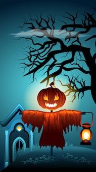 Spooky halloween scene. espantapájaros de cabeza de calabaza.