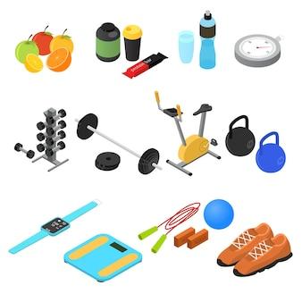 Sport color set vista isométrica fitness gym y concepto de comida sana.