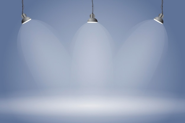 Spot luces de fondo azul oscuro studio