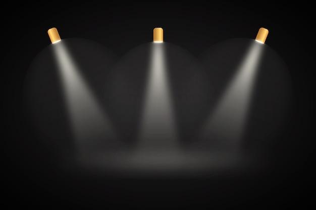 Spot luces de fondo negro studio