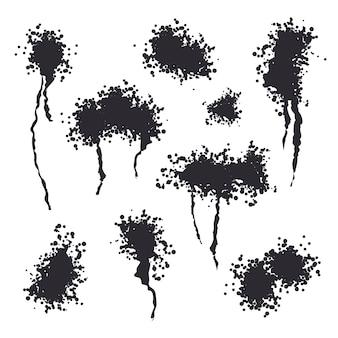 Spray black ink splash