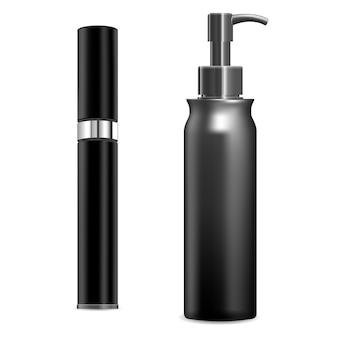 Spray cosmético. envase de plástico en blanco, sobre fondo blanco. plantilla de tubo de crema de bomba. maqueta de botella dispensadora para producto de belleza, paquete redondo. diseño de perfume realista