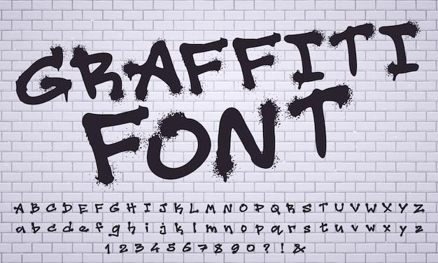 Spray fuente de graffiti. letras de etiquetado de pared de arte callejero de la ciudad, conjunto de vectores de números y letras de graffitis sucios