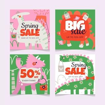 Spring sale instagram post set