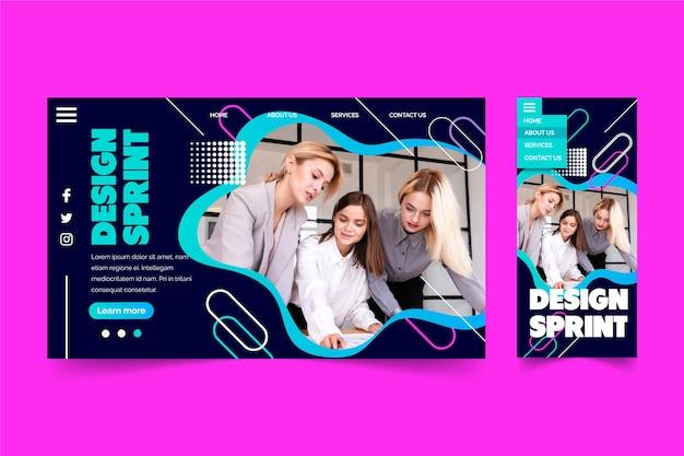 Sprint de diseño con página de inicio de grupo de personas