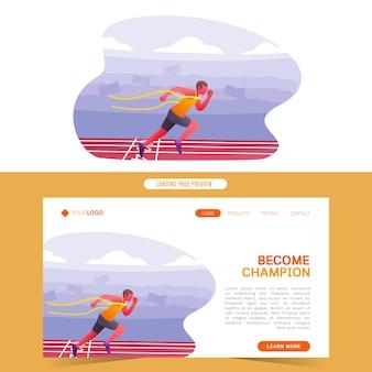 Sprinter corriendo maratón en la línea de meta convertido en plantilla web campeón ganador