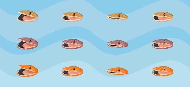 Sprite de ostras de varios colores abriendo y cerrando la boca