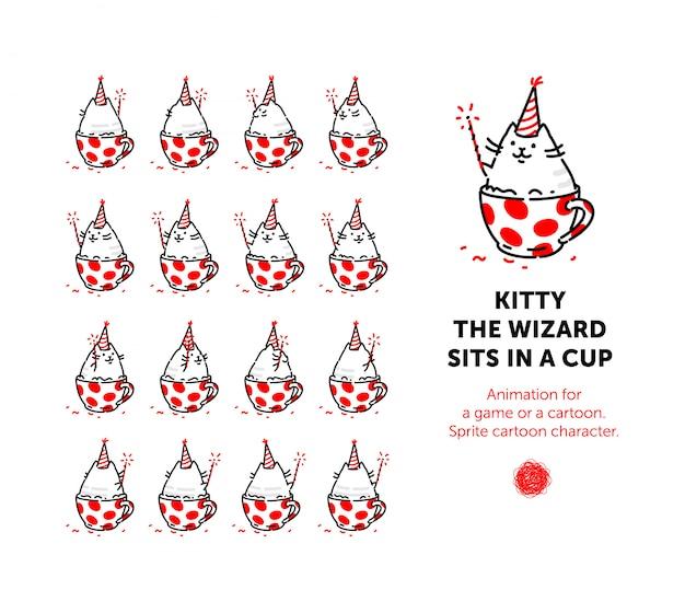 Sprite personaje de dibujos animados del gato. conjunto de diferentes poses del personaje en el vector.
