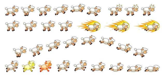 Sprites del juego de las ovejas de algodón