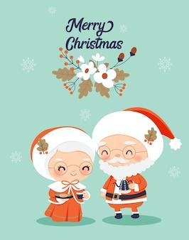 Sr. y sra. claus con decoración de flores para tarjeta de felicitación navideña