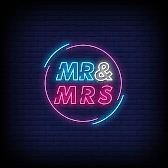 Sr. y sra. letreros de neón estilo texto