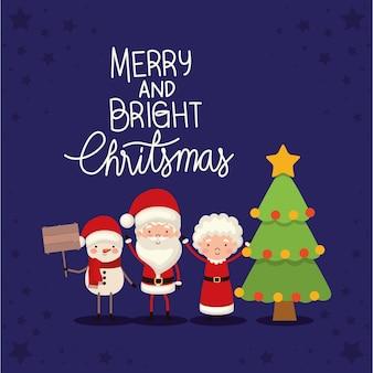 Sr. y sra. santa claus con un árbol de navidad sobre fondo azul.