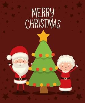 Sr. y sra. santa claus con un árbol de navidad sobre fondo rojo.