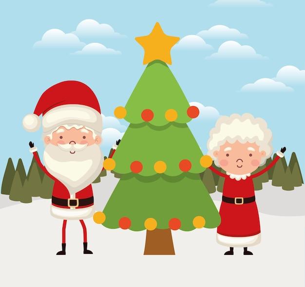 Sr. y sra. santa claus con un árbol de navidad.