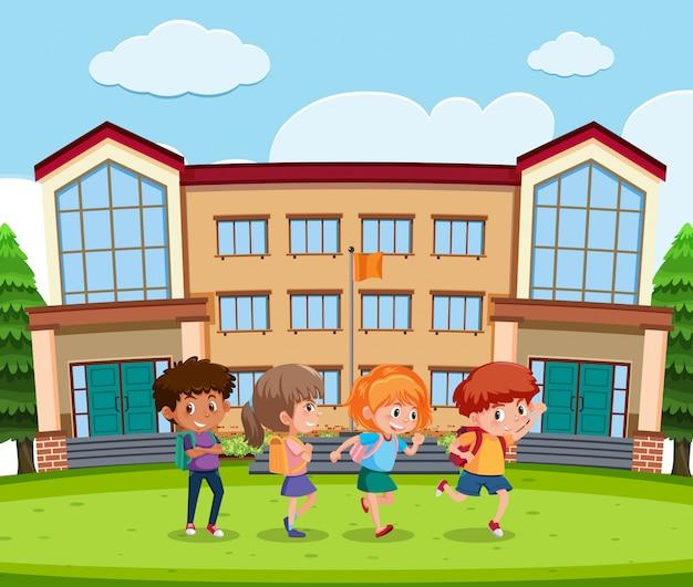 Srudent enfrente de la escuela