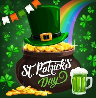 St patrick irish holiday duende monedas de oro olla ilustración