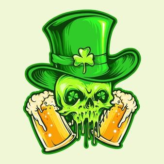 St patrick skull con ilustraciones de dos vasos de cerveza