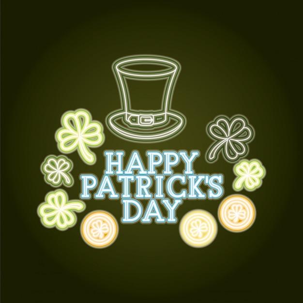 St patricks day neon label con sombrero lemprechaun