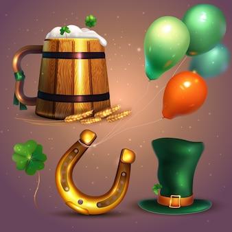 St realista colección de elementos del día de patrick con globos y herradura