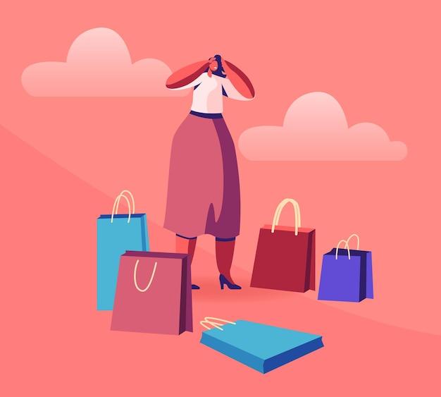 Stand de adicto a las compras de mujer joven rodeado de muchos coloridos bolsos de compras. ilustración plana de dibujos animados