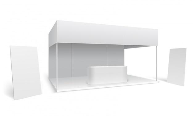 Stand comercial de exposiciones. stand de marketing de eventos vacío blanco. soporte de promoción con pantalla y pancartas de pie maqueta de vector 3d