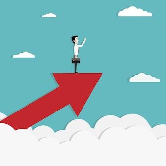Stand de empresario en el crecimiento de una gran flecha