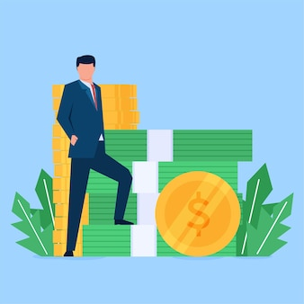 Stand de empresario con estilo junto al dinero.