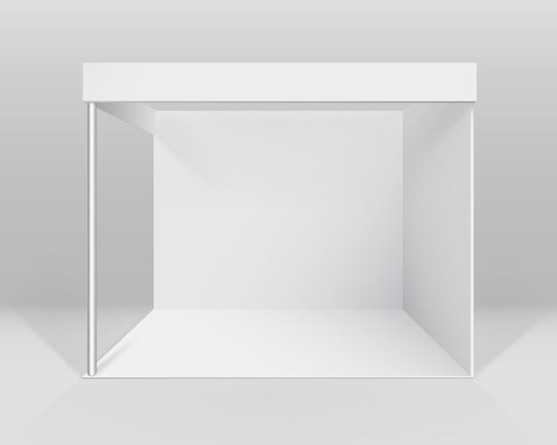 Stand estándar de stand de exposición de comercio interior en blanco blanco para presentación aislada