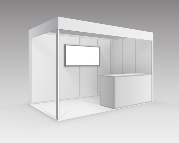 Stand estándar de stand de exposición de comercio interior en blanco blanco para presentación con pantalla de mostrador aislado en perspectiva sobre fondo