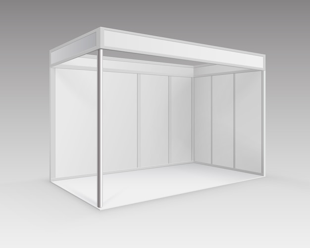 Stand estándar de stand de exposición de comercio interior en blanco blanco para presentación en perspectiva aislada sobre fondo