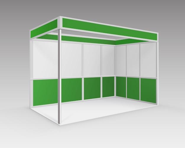 Stand estándar de stand de exposición de comercio interior en blanco verde blanco para presentación en perspectiva aislada sobre fondo