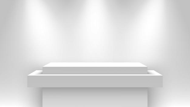 Stand de exposición blanco en blanco, iluminado por focos. pedestal. ilustración.