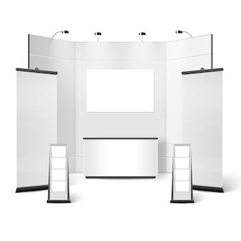 Stand de exposición de diseño en blanco