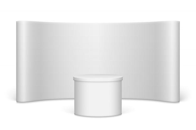 Stand de feria en blanco blanco