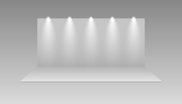 Stand de feria en blanco. maqueta de stands de expo. diseño de sala de exposición de eventos, panel de exposición 3d aislado