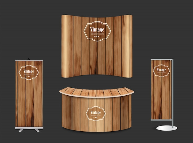Stand de feria en blanco stand de exposición fondo de textura de madera