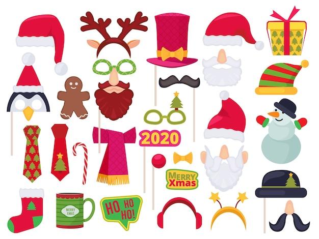 Stand de navidad. vacaciones personajes divertidos disfraces y sombreros para sesión de fotos fiesta enmascarado santa muñeco de nieve elfo vector