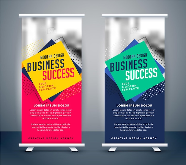 Stand de negocios abstracto roll up banner design