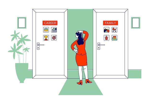 Stand de personaje femenino frente a dos puertas con inscripción de carrera y familia. ilustración plana de dibujos animados