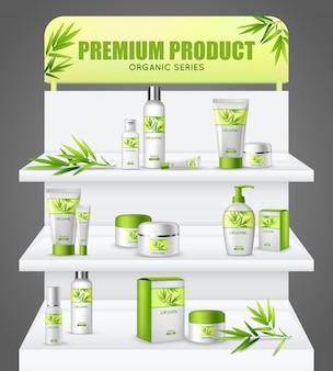 Stand de promoción productos cosméticos