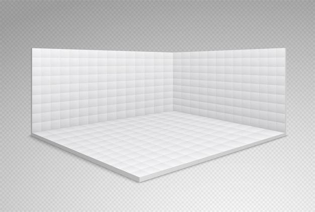 Stand de sala de exposiciones vacía con azulejos blancos en las paredes y el piso. sala de comercio, sala de conferencias de presentación.