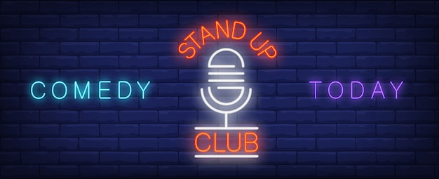 Stand up neon sign del club. micrófono retro en el stand de comedia hoy.