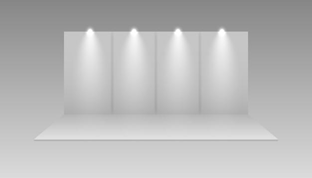 Stand de vector vacío blanco de exposición. exhibición de la sala de eventos de presentación. puesto de exibicion.