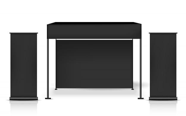 Stand de visualización de quiosco realista para la promoción de marketing de venta, diseño de concepto de evento y exposición.