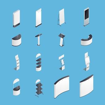 Stands de exposición conjunto de iconos isométricos
